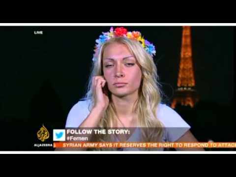Femen Member Is Taking Off Clothes On Live Al Jazeera Program