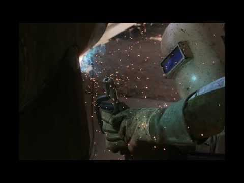 Slow motion and close up pipe welding