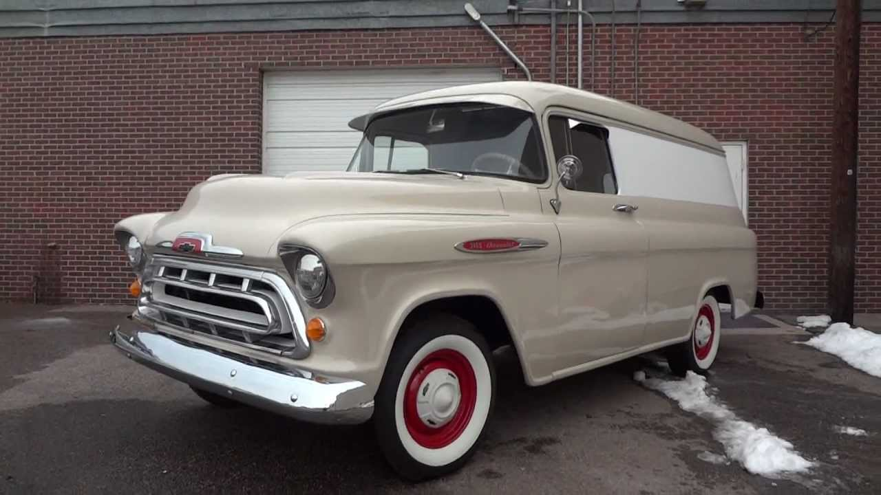 1957 Chevrolet 1/2 ton Panel Van, Restored and RARE for Sale - YouTube