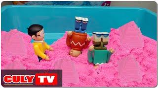 trò chơi xây nhà bằng cát động lực màu hồng đẹp đồ chơi trẻ em nobita chaien xeko