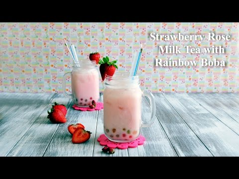 How to Make Strawberry Rose Milk Tea with Rainbow Boba 士多啤梨玫瑰+彩虹珍珠奶茶