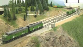 Awesome HO Scale BN Model Train Layout In HD 2-21-2009