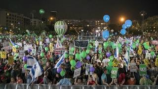 آلاف الإسرائيليين يتجمعون في تل أبيب تأييدا لحل الدولتين