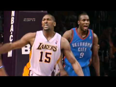Metta World Peace (Ron Artest) Ejected After Hard Elbow Shot To James Harden
