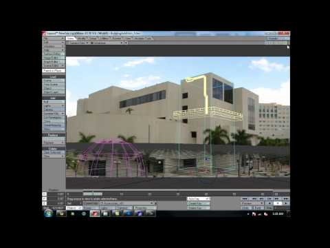 Add geometry to building footage in LightWave 3D