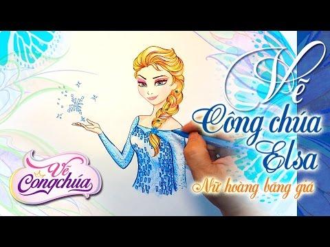 Vẽ Elsa Nữ hoàng Băng Giá Elsa trong phim hoạt hình Frozen Elsa  ►Vẽ công chúa