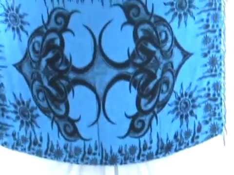 bulk scarves blue giant tattoo sarong WholesaleSarong.com