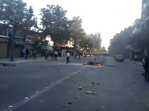 Iran 27 Aug 2011 Riot forces bike on fire