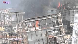 حريق بإحدى الشركات العشوائية بعين حرودة   خارج البلاطو
