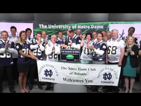 The University of Notre Dame opens Toronto Stock Exchange, June 3, 2014.