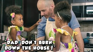 DAD TRIES TO COOK, KIDS CALL MOM