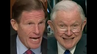 """""""WOULDN'T IT BE ILLEGAL???!!"""" Richard Blumenthal BRILLIANTLY Grills Jeff Sessions on Donald Trump"""
