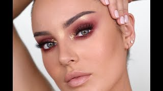 Wearable Editorial Makeup! Burgundy Eyes & Gold Flakes