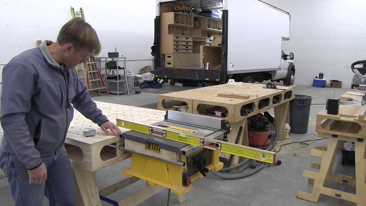 Building the paulk workbench part 12 table saw mounts for for 12 dewalt table saw