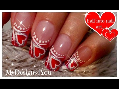 VALENTINE'S DAY FRENCH NAIL ART, HEARTS, TUTORIAL