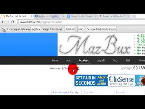 MazBux O melhor site PTC do mundo paga 40 centavos por click