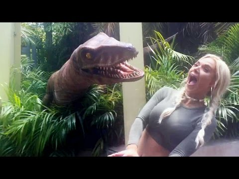 Lana and The New Day get up-close and personal with a dinosaur