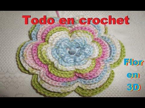 3D flor en crochet - flor infinita en crochet - crochet flower very easy