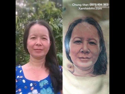 Hình xăm chân dung đẹp - Hình ảnh người mẹ trên ngực - HinhXamDep.com.vn