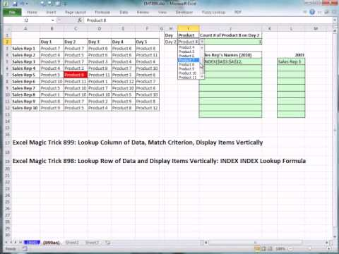 Excel Magic Trick 899: Lookup Column of Data, Match Criterion, Display Items Vertically