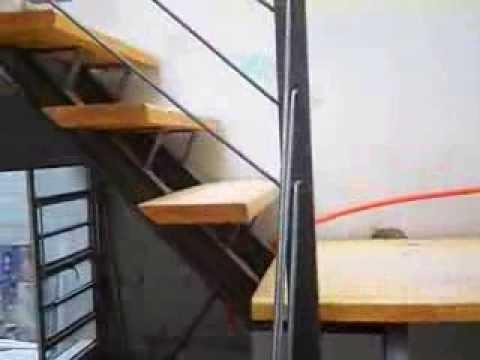 Escalera en hierro y madera youtube for Escaleras de hierro y madera