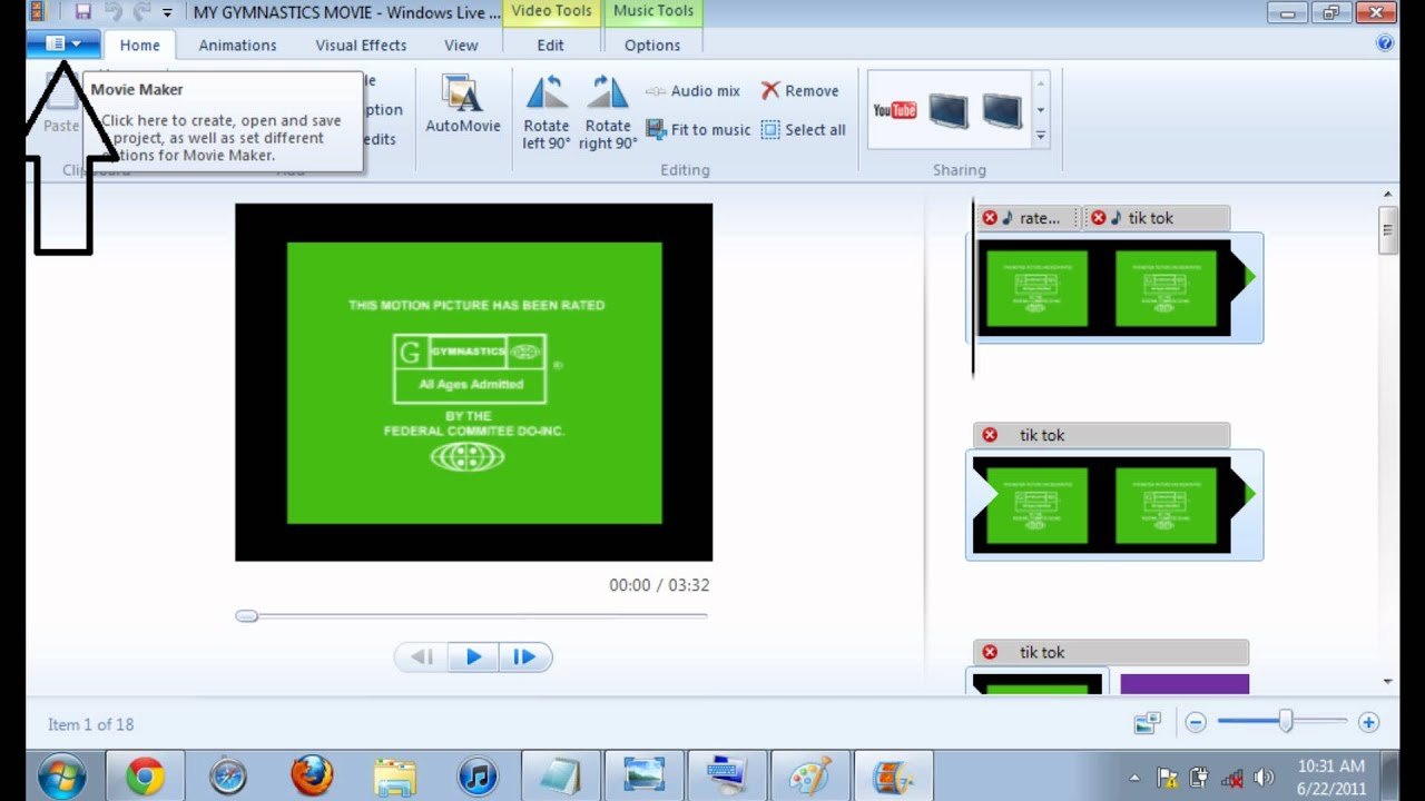 windows live movie maker how to make full screen