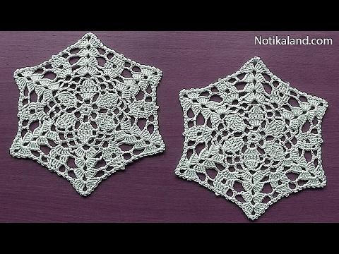 CROCHET Flower Pattern for Doily Tablecloth Blanket Motif Hexagon  Tutorial #3 Part 2