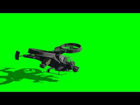 avatar scorpion gunship takes off - animated rotors - different views - green screen effects
