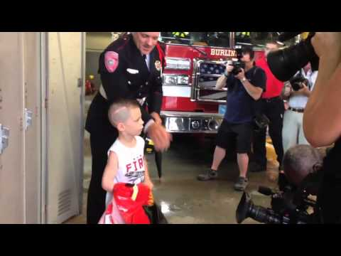 Mass. fire make 5-year-old with brain tumor a firefighter