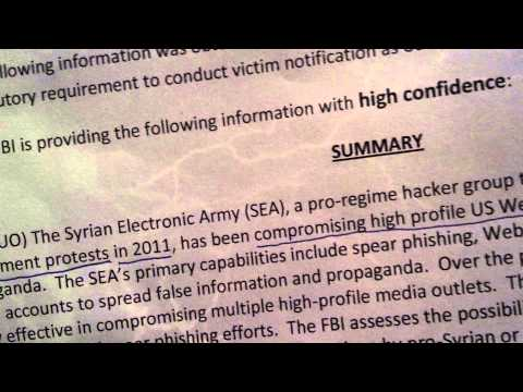 WARNING: FBI FLASH: Syrian Electronic Army (SEA) Coming for you!