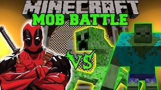 MUTANT CREEPER AND MUTANT ZOMBIE VS DEADPOOL Minecraft