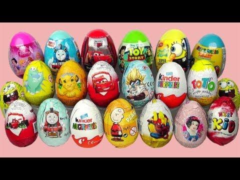 21 Surprise Eggs Kinder Surprise Cars 2 Spongebob Thomas Zaini Surprise