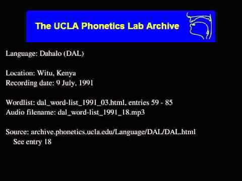 Dahalo audio: dal_word-list_1991_18