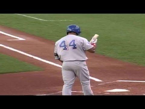 Manny Ramirez reaches on an error for the I-Cubs
