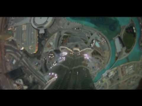 Insane Base Jump off  Dubai's 828m (2,716ft) Burj Khalifa tower.