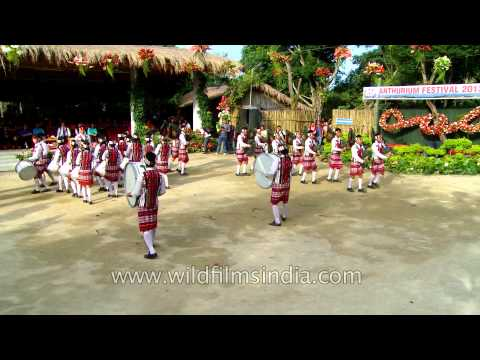 Mizoram Pipe band in full traditional gear
