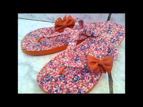 chinelos decorados com tecidos