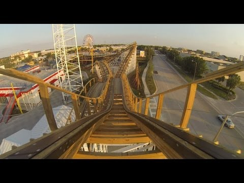 White Lightning Roller Coaster POV Test Runs Fun Spot Orlando GCI Woodie