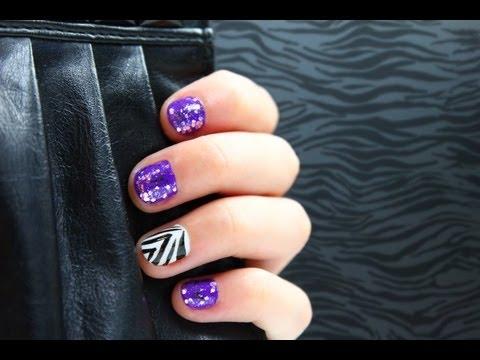 Purple Glitter Zebra Nails Tutorial Nail Designs Video
