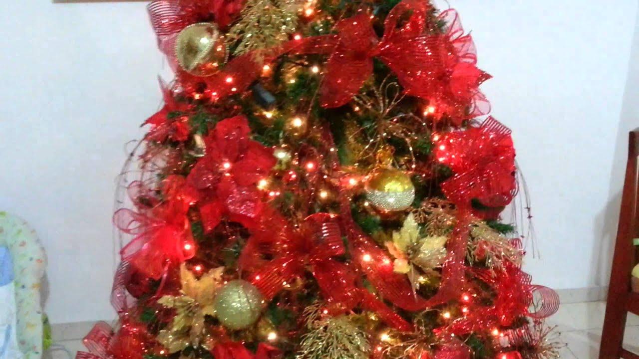 Dise o decoracion arbol de navidad rojo tendencias 2015 al - Arbol navidad adornos ...