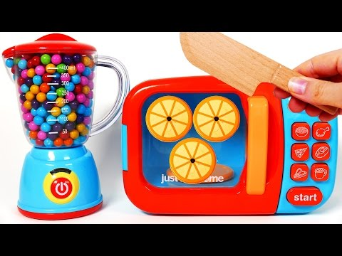 Cutting Fruit and Vegetables Play Food Pretend Playset For Children Learn Colors with Microwave