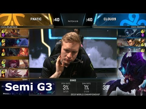 FNC vs C9 Game 3   Semi Final S8 LoL Worlds 2018   Fnatic vs Cloud 9 G3