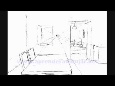 Dessin De L 39 Interieur D 39 Une Maison En Perspective Piece Et Chambre Comment Dessiner Youtube
