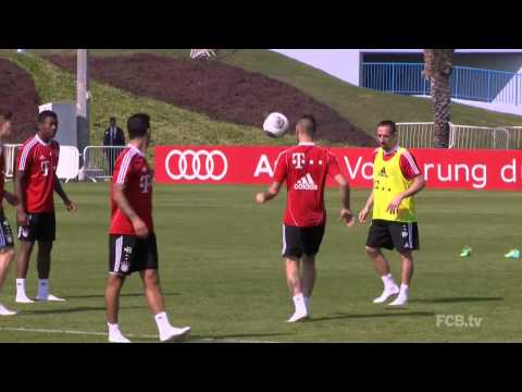 Franck Ribéry During Training and Funny slap to David Alaba