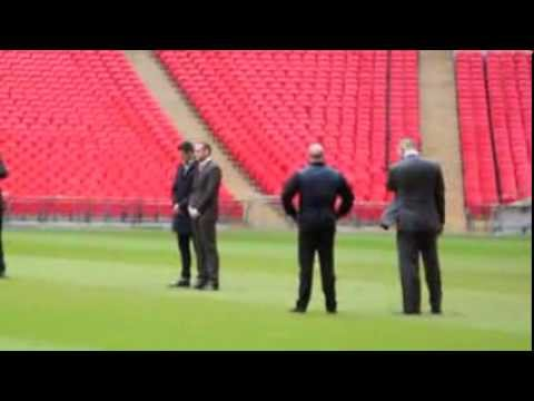 CARL FROCH & GEORGE GROVES ON THE WEMBLEY PITCH BEFORE THE 'SHOVE' - FOOTAGE