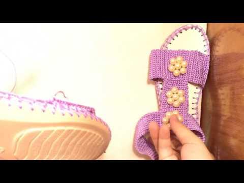 [ Crochet Sandal ] HƯỚNG  DẪN MÓC GIÀY SANDAL VÀO ĐẾ  CÓ SẴN