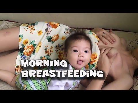 Baby & Mom   Breastfeeding Tutorial  Morning Breastfeeding After Walking Up