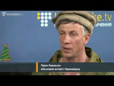 Veteran of Afghanistan war,  Pavel Kovalchuk speaking at Euromaidan