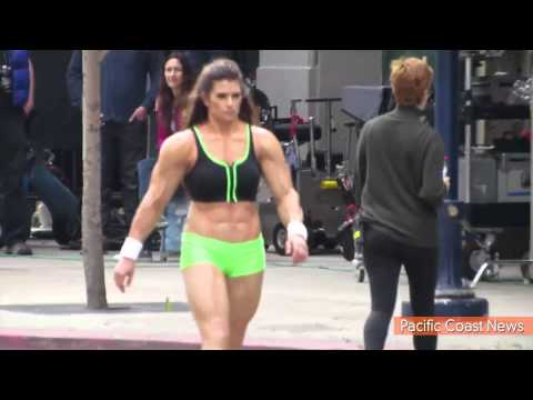 Danica Patrick Wears Muscle Suit for Super Bowl Commercial