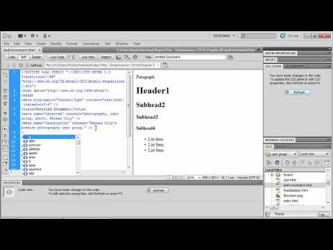Dreamweaver CS5. Tutorial. Creating your first websaite (5 of 6).wmv